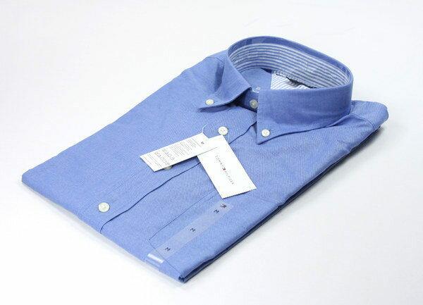 美國百分百【全新真品】Tommy Hilfiger TH 藍色素面款 男長袖襯衫 美國空運回台