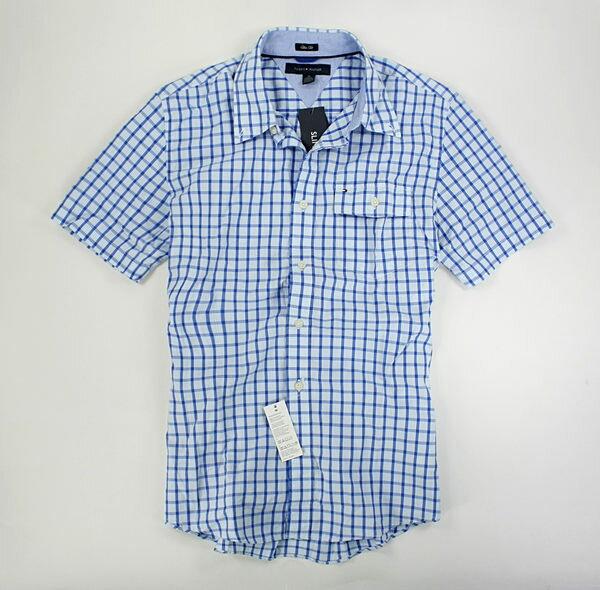 美國百分百【全新真品】Tommy Hilfiger TH 男 亮藍色 格紋 短袖 襯衫 窄版合身 M L號 板橋門市