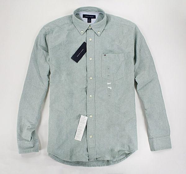 美國百分百【全新真品】Tommy Hilfiger 綠牛津布 質感 素面 長袖 襯衫 男生 上班 工作 S號 TH