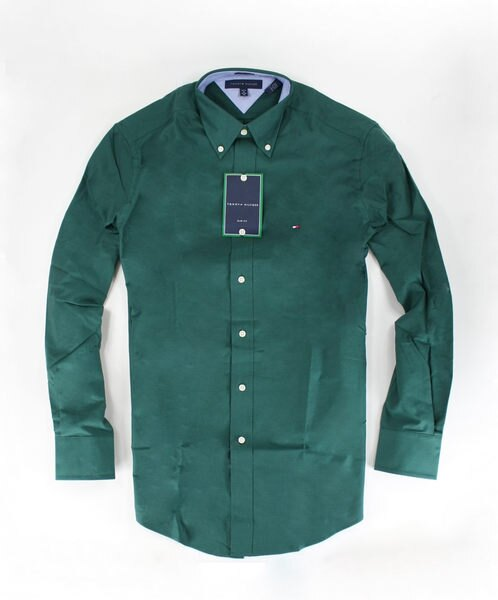 美國百分百【全新真品】Tommy Hilfiger TH 男生 長袖 襯衫 上衣 素面 綠色 S號 可貨到付款