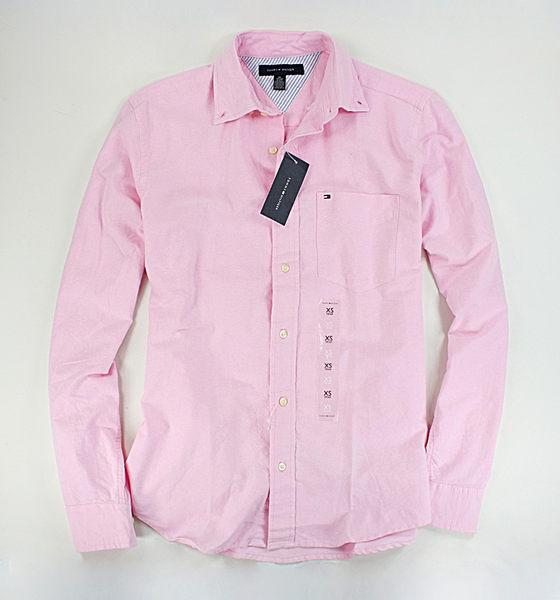 美國百分百【全新真品】Tommy Hilfiger TH 男衣 素面 牛津布 口袋 長袖 襯衫 粉紅色 XS號 超取