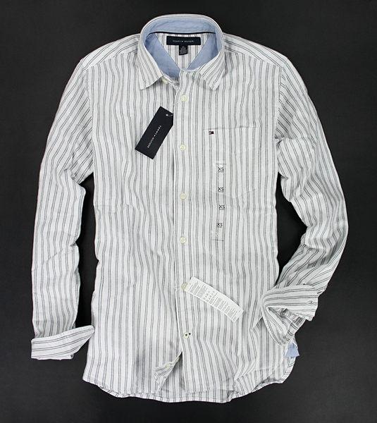 美國百分百【全新真品】Tommy Hilfiger TH 灰色 條紋 牛津布 長袖 襯衫 男生 XS 號 板橋門市