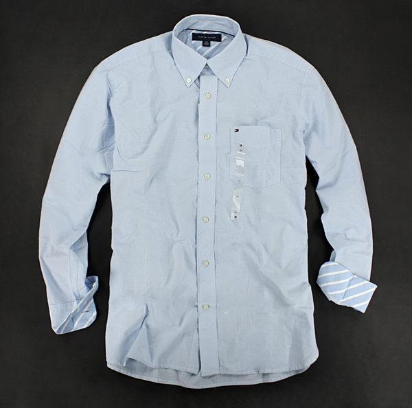 美國百分百【全新真品】Tommy Hilfiger TH 斜格紋 緞面 氣質 男生 長袖襯衫 淡藍色 S號 現貨
