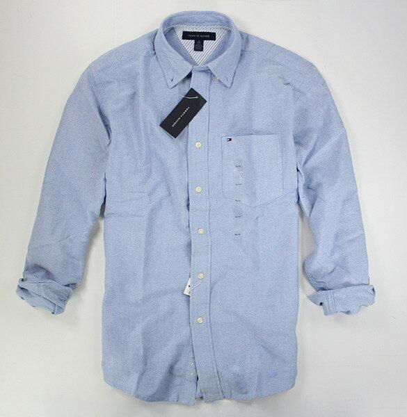 美國百分百【全新真品】Tommy Hilfiger TH 男 牛津布 口袋 長袖 上衣 素面 襯衫 藍色 板橋門市