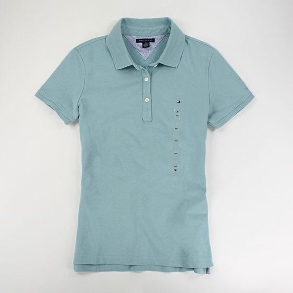 美國百分百【全新真品】Tommy Hilfiger 女生 短袖 POLO衫 顯瘦款 粉色系 膚色 湖水綠 M號 TH
