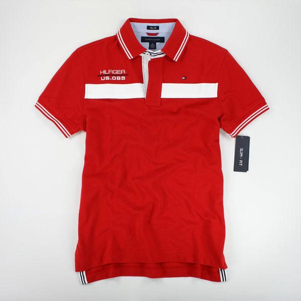 <br/><br/>  美國百分百【全新真品】Tommy Hilfiger 夏季新款 海軍風 條紋翻領 Polo衫 紅色 窄版 S M號 th<br/><br/>