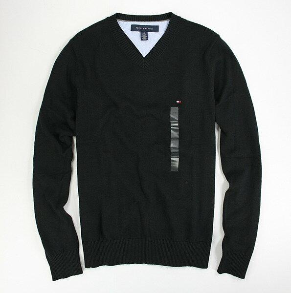 美國百分百【全新真品】Tommy Hilfiger 上班族 必備 V領 針織衫 毛衣 外衣 純棉 黑色 上衣