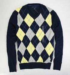 美國百分百【全新真品】Tommy Hilfiger TH 學院風 深藍 黃 菱格 V領 針織衫 毛衣 XS號 免運