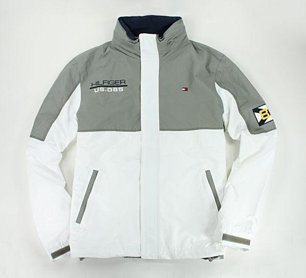 美國百分百【全新真品】Tommy Hilfiger TH 收納帽 輕薄 透氣 雙色 風衣 外套 夾克 灰白款 L XL