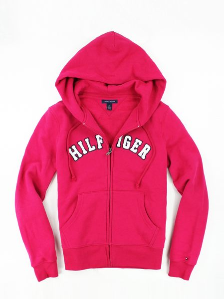 美國百分百【全新真品】Tommy Hilfiger TH 女 連帽 外套 夾克 刷毛 logo 帽T 桃紅 S號 免運 超取