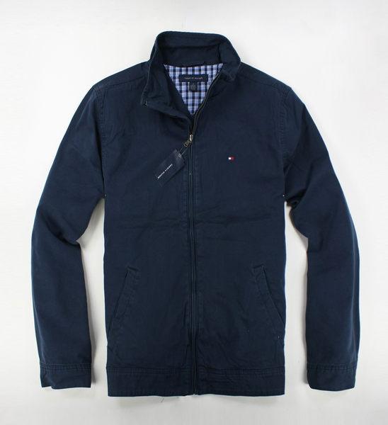 美國百分百【全新真品】Tommy Hilfiger TH 男 深藍 立領 外套 夾克 型男 軍裝 騎士 免運 XS S號