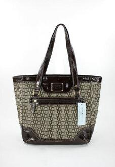 美國百分百【全新真品】Tommy Hilfiger TH 漆皮 logo織布 女包 手提包 肩背包 側背包 方包 咖啡