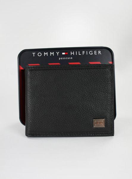 美國百分百【全新真品】Tommy Hilfiger TH 男生 小牛皮 皮夾 皮包 錢包 黑色 板橋 門市 荔枝皮