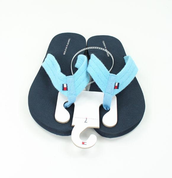 美國百分百【全新真品】Tommy Hilfiger TH 夏季 女 厚底 增高 夾腳拖 人字拖 海灘涼鞋 藍色