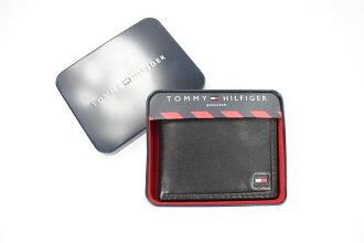 美國百分百【全新真品】Tommy Hilfiger TH 男款 皮夾 短夾 錢包 皮包 黑色 牛皮 超取 1700免運