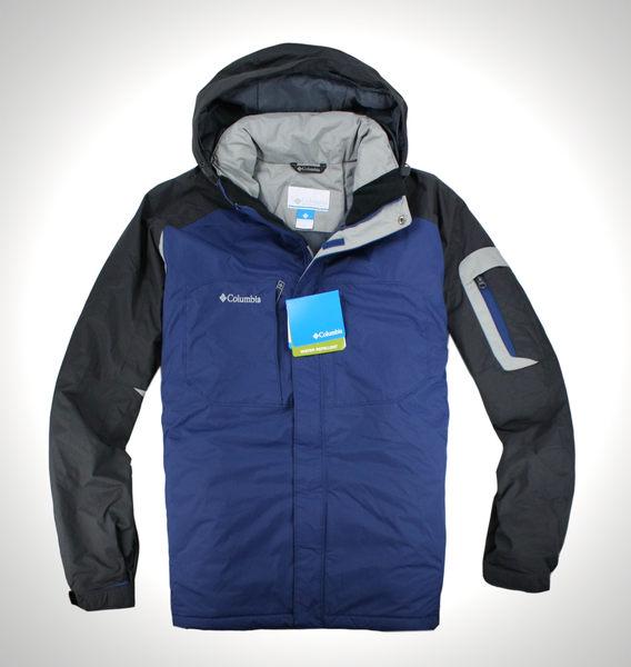 美國百分百【全新真品】Columbia 哥倫比亞 男 藍灰黑 連帽外套 夾克 抗寒 防潑水 免運 XL號