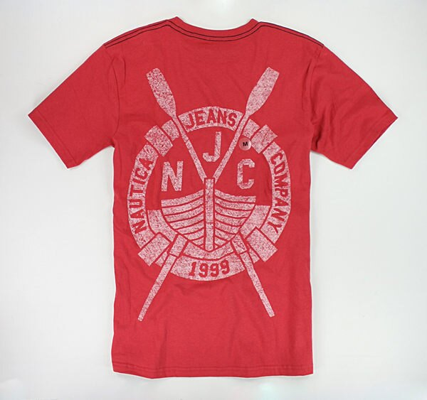 美國百分百【全新真品】Nautica 帆船T 航海T 圖案T 復古紅 刷淡 刷白 男生T恤 T-shirt Tee M號