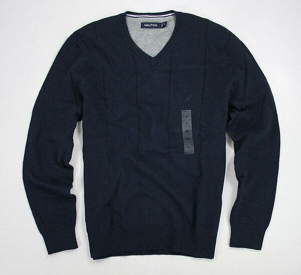美國百分百【全新真品】NAUTICA 帆船牌 深藍 V領 素面 針織衫 長袖 毛衣 M L號 優惠中
