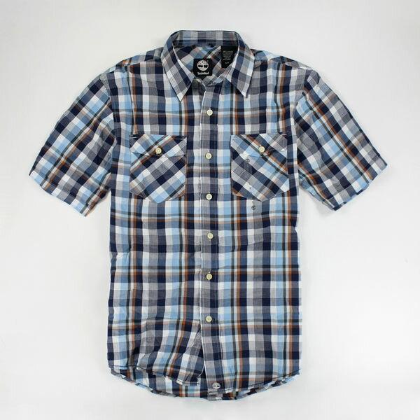 美國百分百【全新真品】Timberland 夏季 休閒渡假風 抓皺感 紅格紋 藍格紋 短袖 襯衫 S號