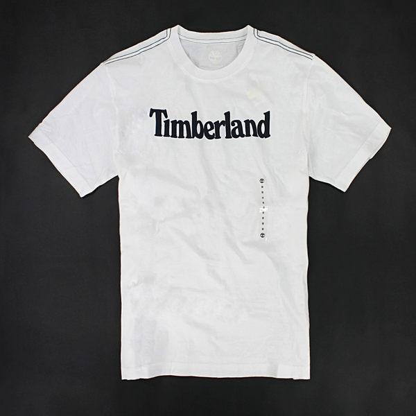 美國百分百【全新真品】Timberland logo款 百搭 經典 素面T 文字T 男T恤 短T T-shirt 白色 M號