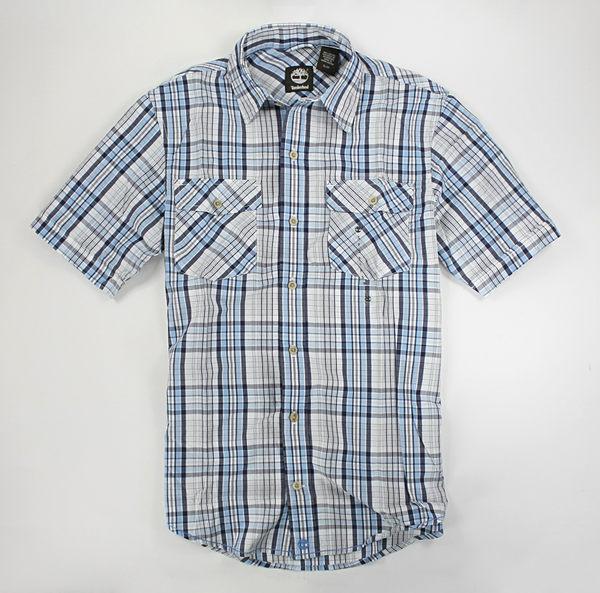 美國百分百【全新真品】Timberland 交叉雙口袋 邊縫線 短袖 格紋 襯衫 藍灰色 S號 單件免運