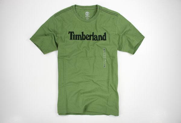 美國百分百【全新真品】Timberland logo款 百搭 素面T 文字T 男T恤 短T T-shirt 綠色 M號 超取