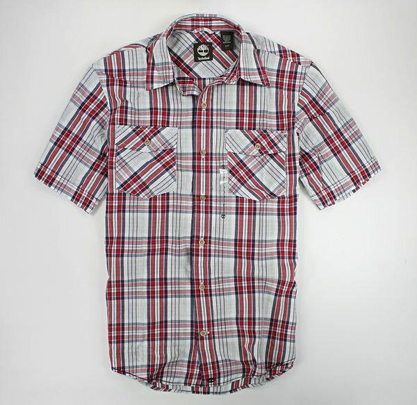 美國百分百【全新真品】Timberland 交叉雙口袋 邊縫線 短袖 格紋 襯衫 紅灰色 S號 單件免運