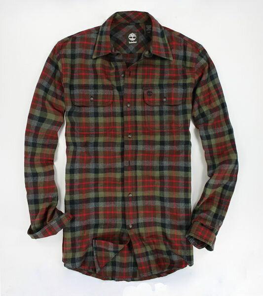 美國百分百【全新真品】Timberland 復古 配色 有型 男生 格紋 長袖 襯衫 雙口袋 厚棉 M號