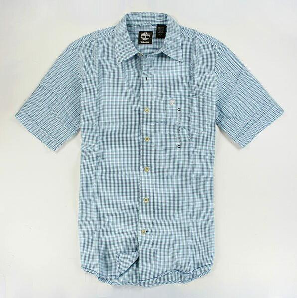 美國百分百【全新真品】Timberland 春夏 薄款 男襯衫 短袖襯衫 特色 藍綠格紋 休閒風 S號