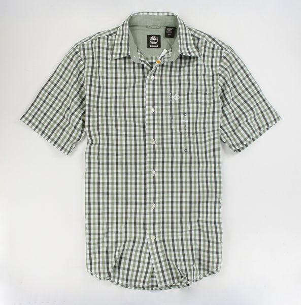 美國百分百【全新真品】Timberland 春夏 薄款 男 休閒 懷舊風 草綠 短袖 格紋 襯衫 上衣 S號