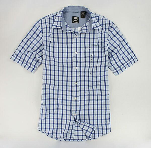 美國百分百【全新真品】Timberland 春夏 薄款 男襯衫 短袖襯衫 休閒 上衣 藍色 格紋 S號 超取