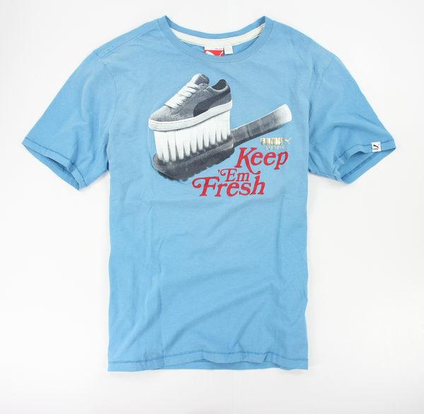 美國百分百【全新真品】puma 男 女 T恤 短袖 上衣 淺藍 Tshirt 天心 美國純棉 S號 超取