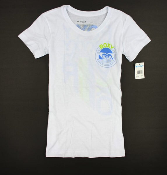 美國百分百【全新真品】ROXY 女生 海灘 T恤 長版T 圓領T LOGO文字 白色 貼身 S M號 板橋門市