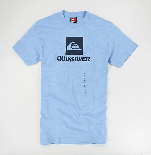 美國百分百【全新真品】Quiksilver 衝浪 logo 圖案 經典 短袖 T恤 T-shirt Tee 水藍 S M L號 現貨