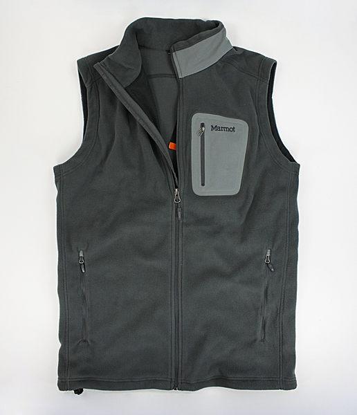 美國百分百【全新真品】Marmot polartec 登山戶外品牌 男款 刷毛 鋪棉 保暖 背心 黑 灰 L號