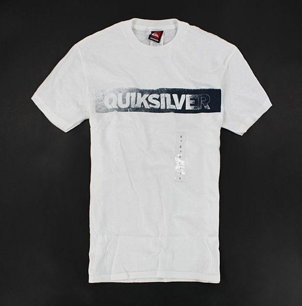 美國百分百【全新真品】Quiksilver 衝浪經典品牌 白T 漸層刷色 logoT 短袖 T恤 T-shirt S號