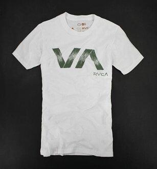 美國百分百【全新真品】RVCA 潮流 滑板 男T 墨綠刷紋 圓領 白T 短T T恤 t-shirt Tees S號