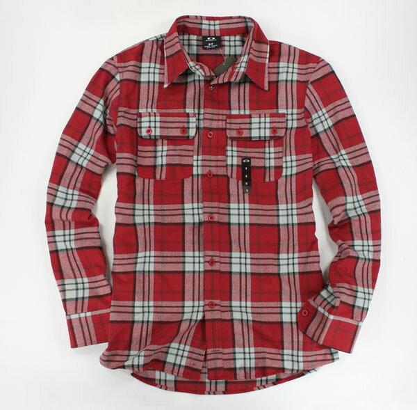 美國百分百~ ~Oakley 款 紅色格紋 長袖 襯衫 上衣 男生 街頭 雅痞 休閒穿搭