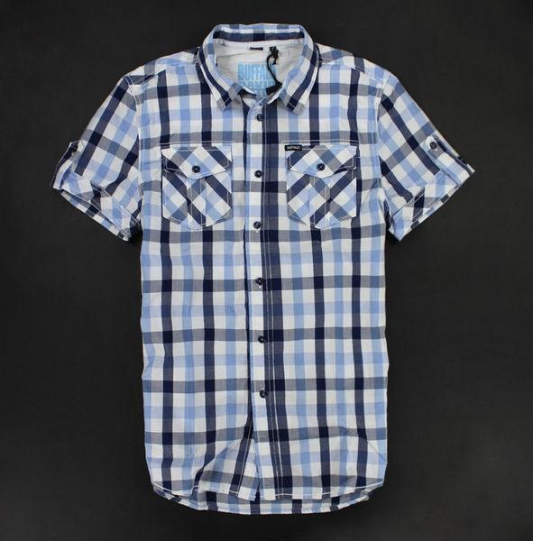 美國百分百【全新真品】buffalo david bitton 男款 藍格紋 口袋交叉斜紋 短袖 襯衫 S號 可自取