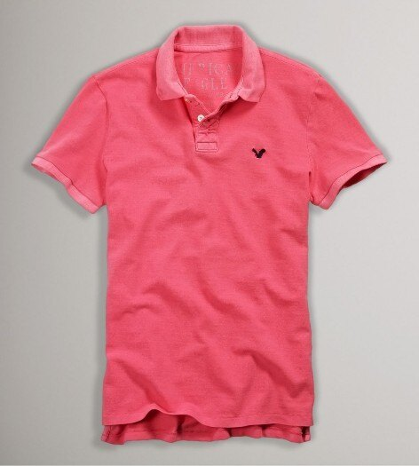 美國百分百【全新真品】American Eagle AE 老鷹品牌 男衣 素色 桃紅 立領 短袖 Polo衫 XS M號 e