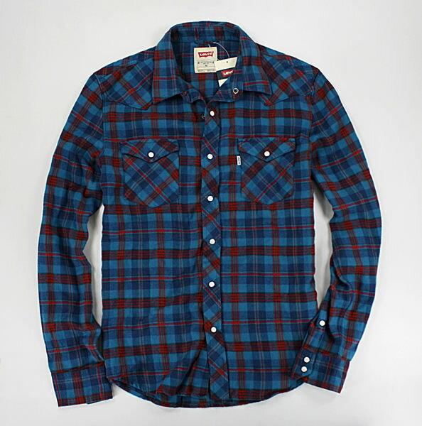 美國百分百【全新真品】Levis levi's 英國搭色 藍紅 斜格紋 長襯衫 襯衫外套 男衣 M號 免運