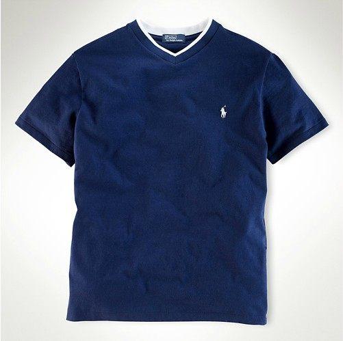 美國百分百【全新真品】Ralph Lauren Polo 小馬 小V領 深藍款 素面 T恤 Tshirt Tees XS S號 RL y