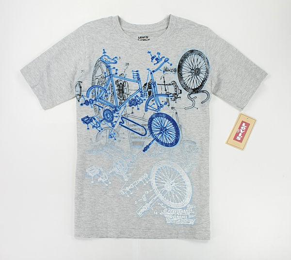 美國百分百【全新真品】Levis 腳踏車 印紋 花紋 圖案 彩繪風 短袖 T恤 T-shirt Tees 灰色 XS號