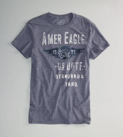 美國百分百【全新真品】American Eagle 破損 英文 字母 設計圖案 男短袖 T恤 T-shirt 灰 XS S號 AE