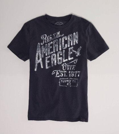 美國百分百【全新真品】American Eagle 斜字母 風格設計T 男生 短袖 T恤 T-shirt 鐵灰 S號 AE