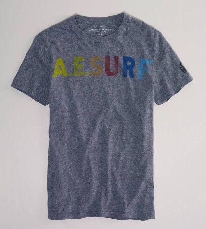 美國百分百【全新真品】American Eagle 彩色字母 灰色紋路 男生 短袖 T恤 T-shirt XS S L號 AE