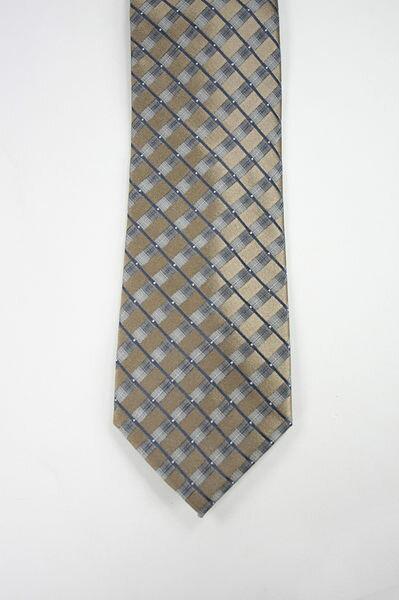 美國百分百【全新真品】Kenneth Cole KC 手打 絲質 領帶 100%silk 男生 配件 寬版 金色 格紋
