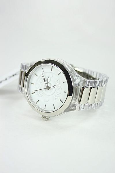 美國百分百【全新真品】DKNY 男錶 手錶 手表 情侶 對錶 透明錶帶 日本機芯 白色情人節 禮
