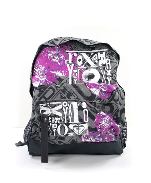 美國百分百【全新真品】ROXY 女生 後背包 學生包 外出包 上課 運動 逛街 灰底 紅花 超取