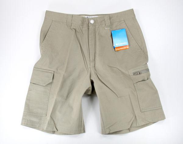 美國百分百【全新真品】Columbia 哥倫比亞 男 短褲 工作褲 外出褲 抗UV 卡其色 32腰 美國